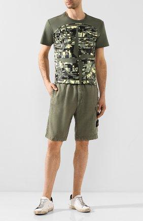 Мужские льняные шорты STONE ISLAND хаки цвета, арт. 7215L0301 | Фото 2