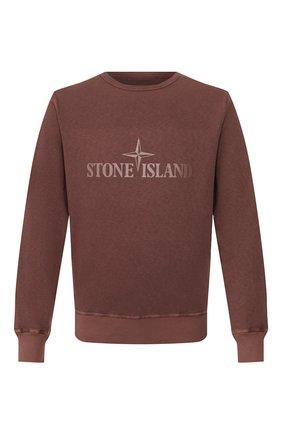Мужской хлопковый свитшот STONE ISLAND коричневого цвета, арт. 721564760 | Фото 1