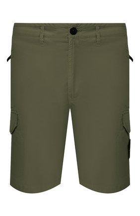 Мужские хлопковые шорты STONE ISLAND хаки цвета, арт. 7215L0403 | Фото 1