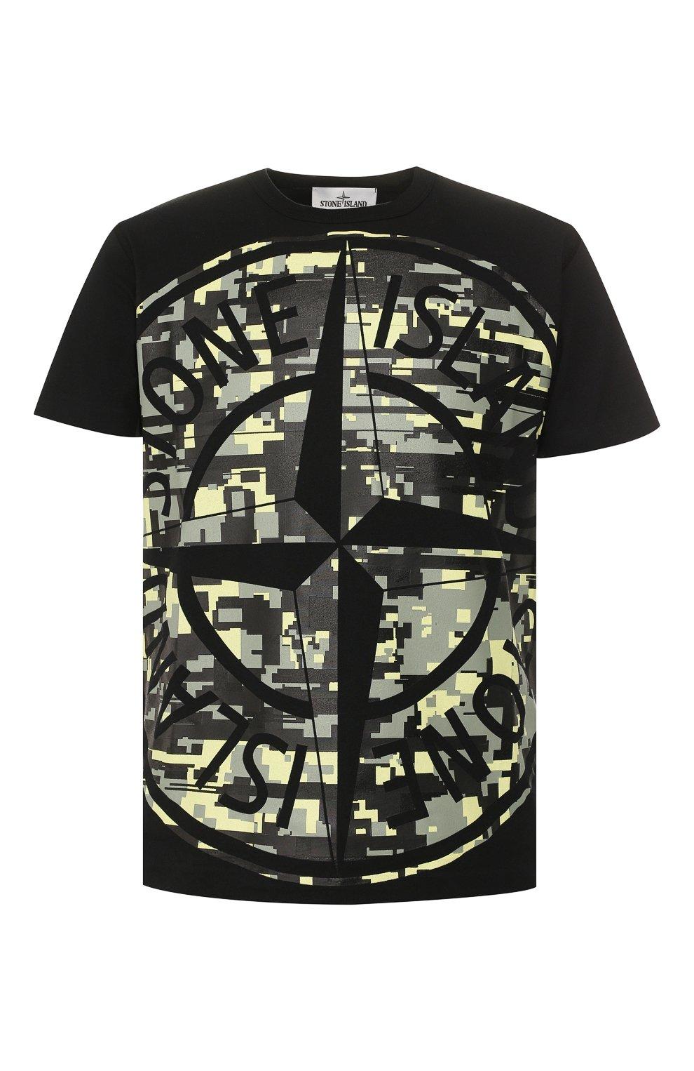 Мужская хлопковая футболка STONE ISLAND черного цвета, арт. 721523387 | Фото 1