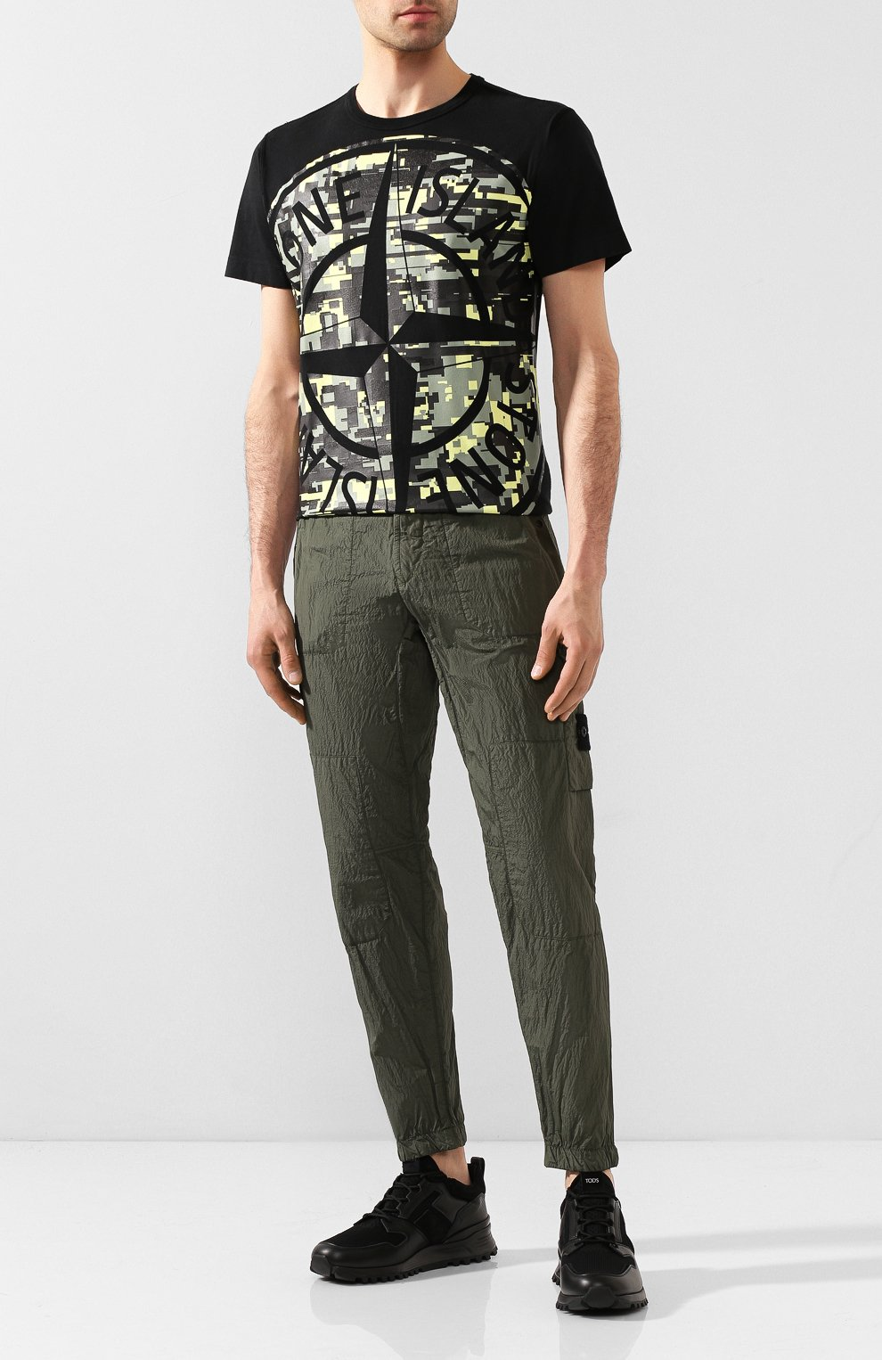 Мужская хлопковая футболка STONE ISLAND черного цвета, арт. 721523387 | Фото 2