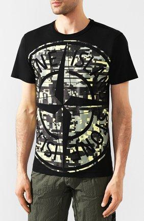 Мужская хлопковая футболка STONE ISLAND черного цвета, арт. 721523387 | Фото 3
