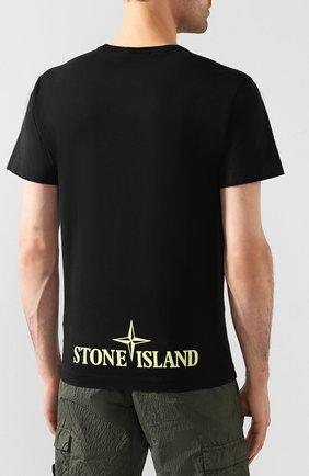 Мужская хлопковая футболка STONE ISLAND черного цвета, арт. 721523387 | Фото 4