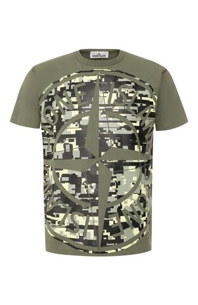 Мужская хлопковая футболка STONE ISLAND хаки цвета, арт. 721523387 | Фото 1