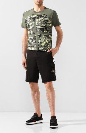 Мужская хлопковая футболка STONE ISLAND хаки цвета, арт. 721523387 | Фото 2