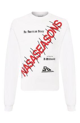 Мужская хлопковый лонгслив NASASEASONS белого цвета, арт. T041W/AMERICAN ST0RY | Фото 1