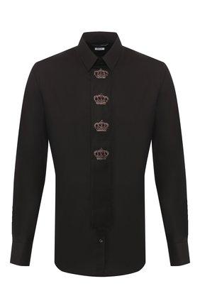 Мужская хлопковая сорочка DOLCE & GABBANA черного цвета, арт. G5HH6Z/GEM00 | Фото 1