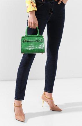 Женская сумка rl50 mini из кожи аллигатора RALPH LAUREN зеленого цвета, арт. 435769101/AMIS | Фото 2