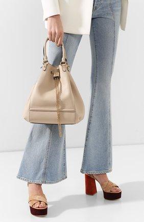 Женская сумка chain bucket FENDI бежевого цвета, арт. 8BT322 AAJ1 | Фото 2