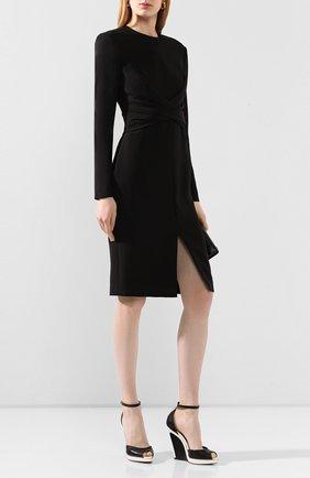 Женские кожаные босоножки TOM FORD черно-белого цвета, арт. W2552T-LCL070 | Фото 2