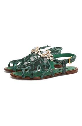 Женские сандалии из кожи питона bianca DOLCE & GABBANA зеленого цвета, арт. CQ0402/A2V46/PBIV   Фото 1