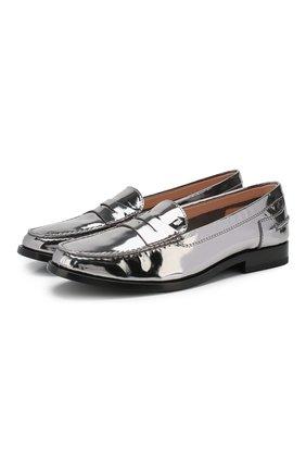 Женские кожаные пенни-лоферы TOD'S серебряного цвета, арт. XXW16C00013PL8   Фото 1