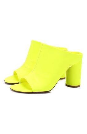 Женские кожаные сабо VETEMENTS желтого цвета, арт. SS20HE003 2414/W   Фото 1
