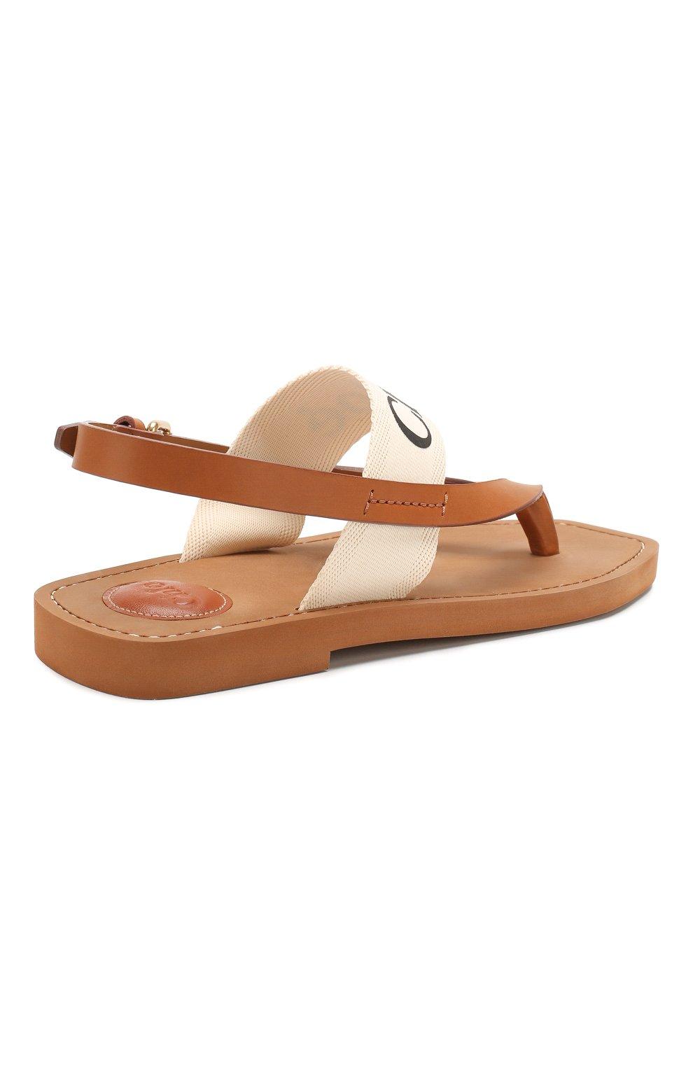 Женские комбинированные сандалии woody CHLOÉ светло-бежевого цвета, арт. CHC20U32708   Фото 4 (Материал внешний: Текстиль; Каблук высота: Низкий; Материал внутренний: Натуральная кожа; Подошва: Плоская)