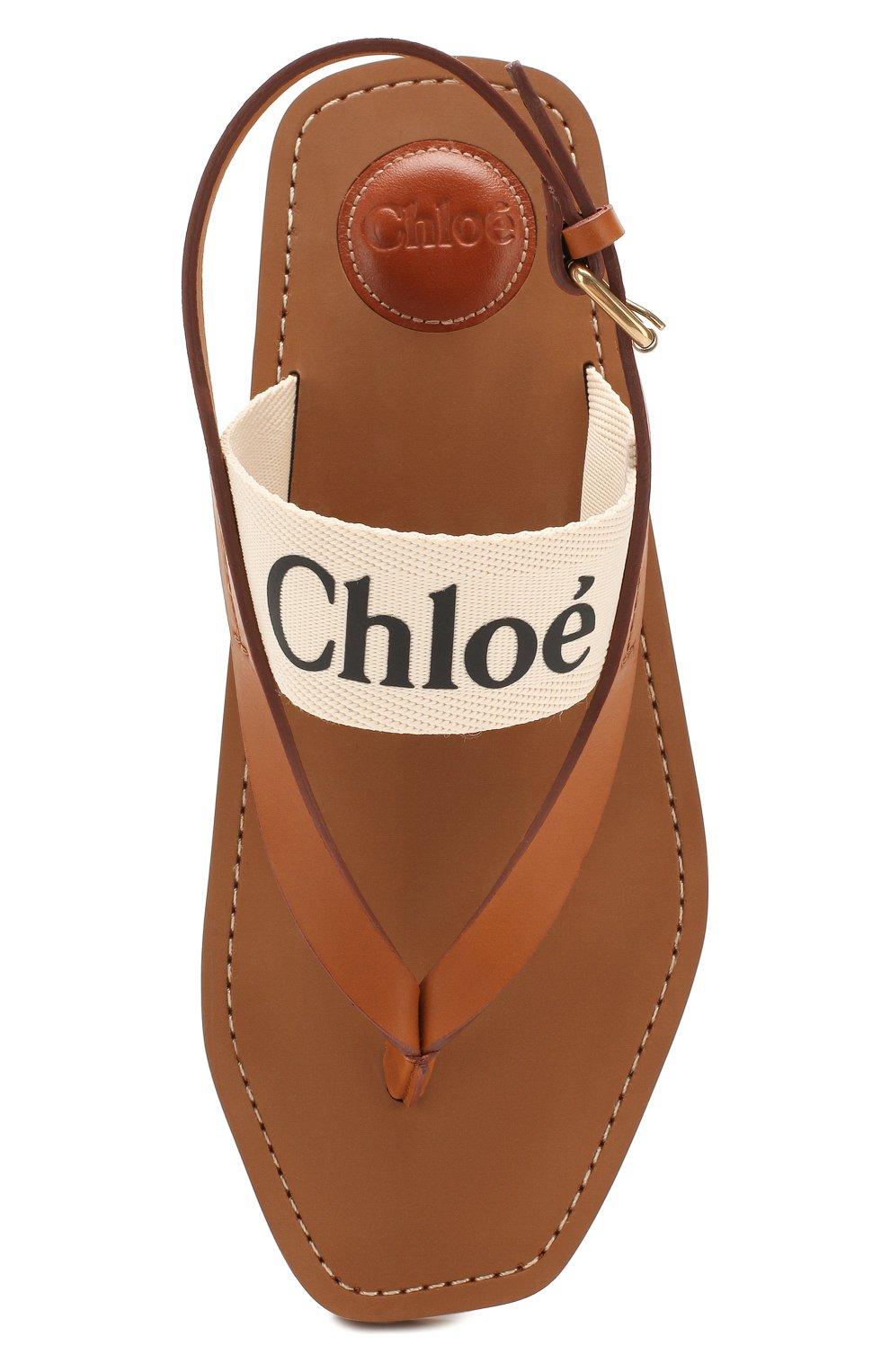 Женские комбинированные сандалии woody CHLOÉ светло-бежевого цвета, арт. CHC20U32708   Фото 5 (Материал внешний: Текстиль; Каблук высота: Низкий; Материал внутренний: Натуральная кожа; Подошва: Плоская)