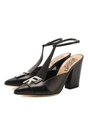 Женская кожаные туфли logomaniac SERGIO ROSSI черного цвета, арт. A90021-MNAN07   Фото 1