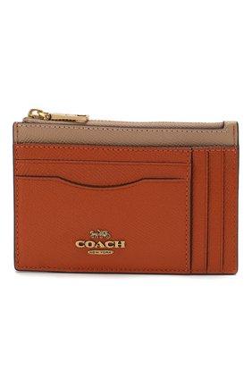 Женский кожаный футляр для кредитных карт COACH коричневого цвета, арт. 66712 | Фото 1