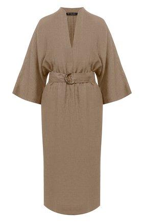 Женское льняное платье LORO PIANA хаки цвета, арт. FAL1286 | Фото 1