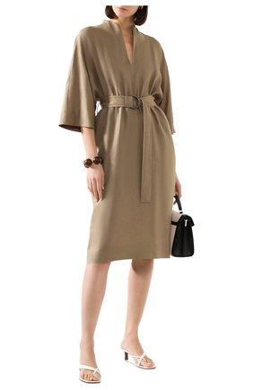 Женское льняное платье LORO PIANA хаки цвета, арт. FAL1286 | Фото 2