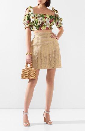 Женская юбка из вискозы DOLCE & GABBANA бежевого цвета, арт. F4BT9Z/GD0B8 | Фото 2