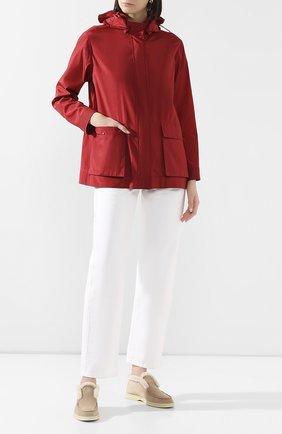 Женская шелковая куртка LORO PIANA красного цвета, арт. FAL1229 | Фото 2 (Материал внешний: Шелк; Длина (верхняя одежда): Короткие; Кросс-КТ: Ветровка, Куртка; Рукава: Длинные; Стили: Кэжуэл)