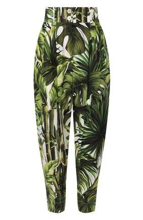 Женские хлопковые брюки DOLCE & GABBANA зеленого цвета, арт. FTBS6T/HS5HD | Фото 1
