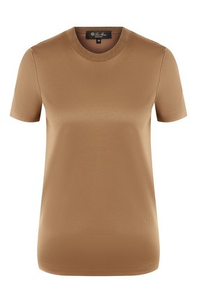 Женская хлопковая футболка LORO PIANA хаки цвета, арт. FAI5069 | Фото 1