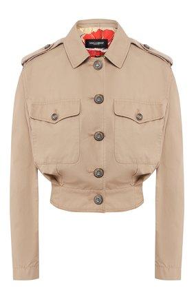 Женская хлопковая куртка DOLCE & GABBANA бежевого цвета, арт. F9H96T/FU6WJ | Фото 1