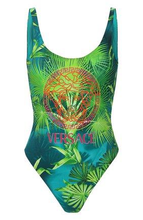 Женский слитный купальник VERSACE зеленого цвета, арт. ABD87000/A234851 | Фото 1