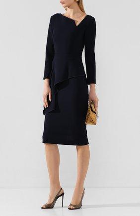 Женское шерстяное платье ROLAND MOURET темно-синего цвета, арт. EW20/S0976/F4044 | Фото 2