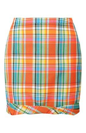 Женская мини-юбка REJINA PYO оранжевого цвета, арт. D155/C0TT0N BLEND CHECK   Фото 1