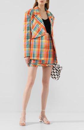 Женская мини-юбка REJINA PYO оранжевого цвета, арт. D155/C0TT0N BLEND CHECK   Фото 2