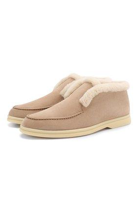 Женские замшевые ботинки open walk LORO PIANA темно-бежевого цвета, арт. FAG3602 | Фото 1