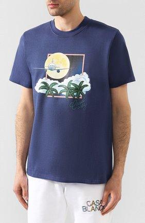 Мужская хлопковая футболка CASABLANCA темно-синего цвета, арт. MS20-TS-001 CASA AIRWAYS | Фото 3