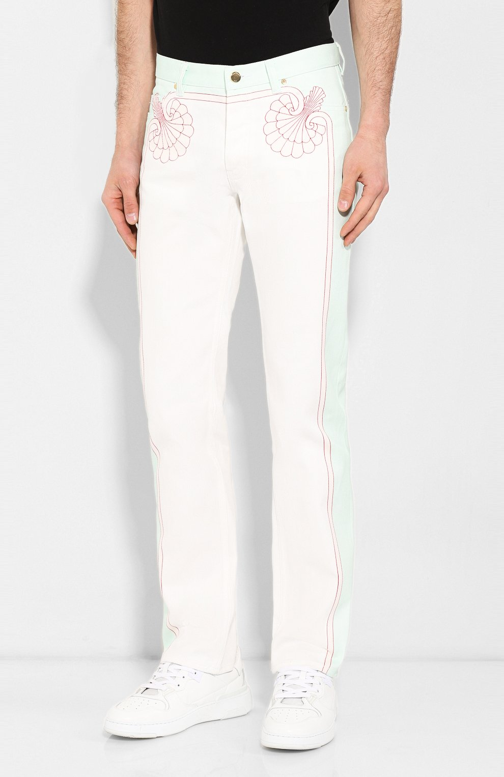 Мужские джинсы CASABLANCA белого цвета, арт. MS20-TR-002 LES C0QUILLAGES JEANS   Фото 3