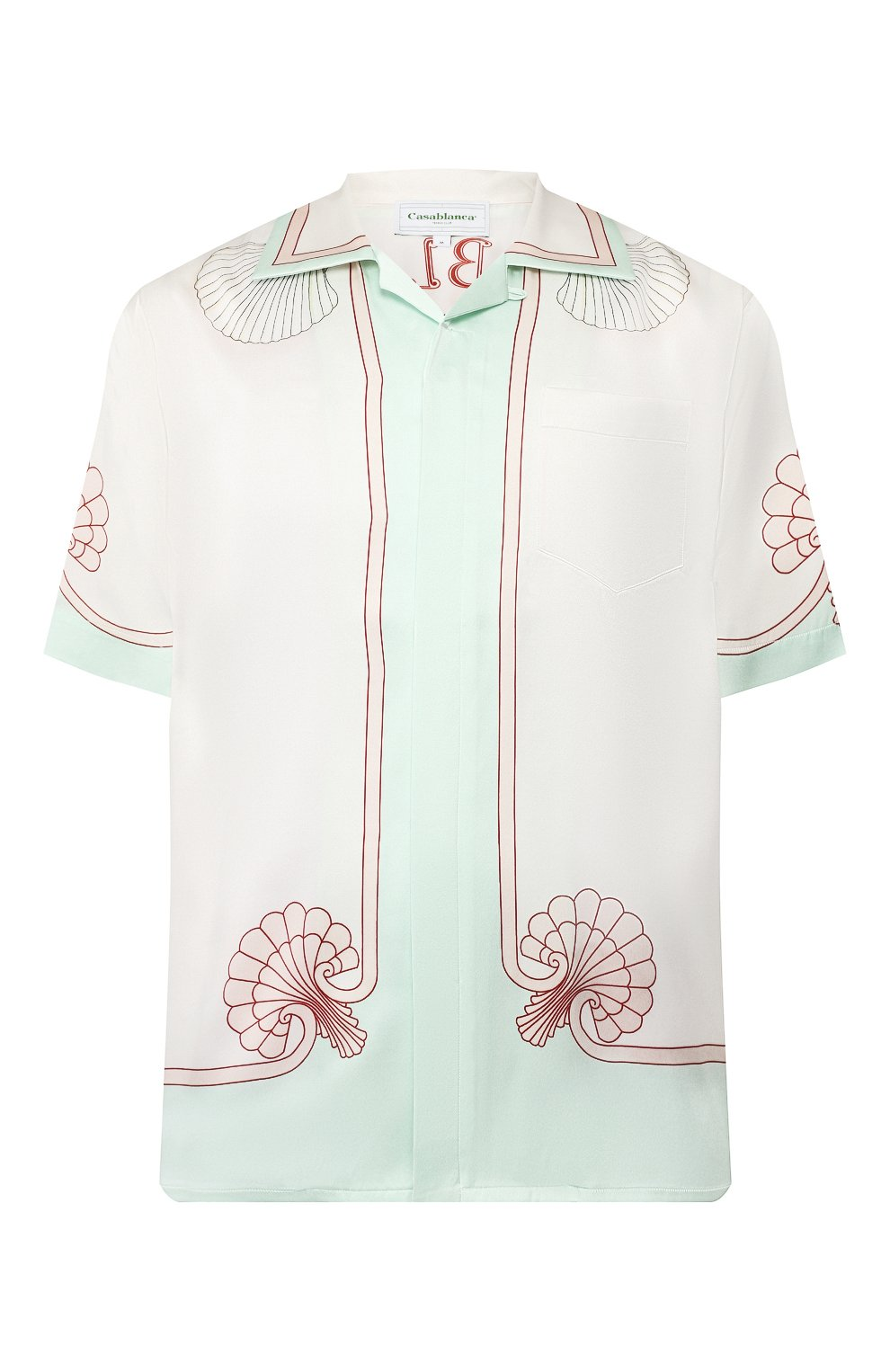 Мужская шелковая рубашка CASABLANCA белого цвета, арт. MS20-SH-003 SH0RT SLEEVE SHIRT LES C0QUILLAGES | Фото 1