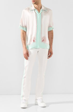 Мужская шелковая рубашка CASABLANCA белого цвета, арт. MS20-SH-003 SH0RT SLEEVE SHIRT LES C0QUILLAGES | Фото 2