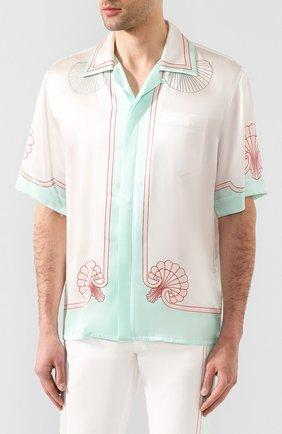 Мужская шелковая рубашка CASABLANCA белого цвета, арт. MS20-SH-003 SH0RT SLEEVE SHIRT LES C0QUILLAGES | Фото 3