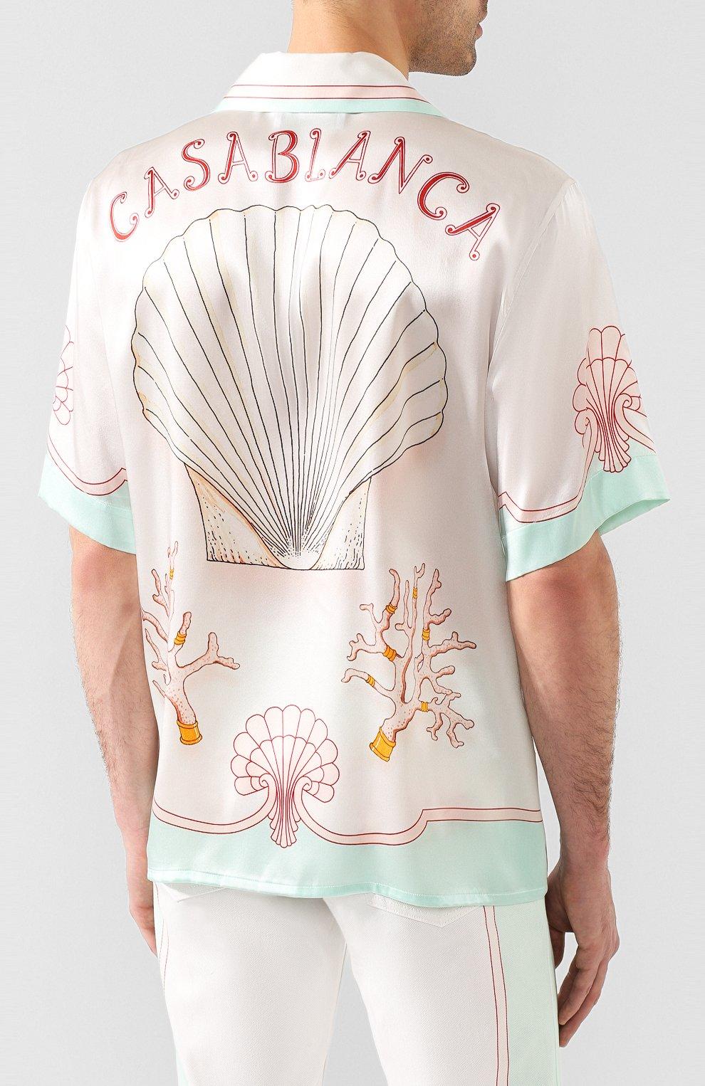 Мужская шелковая рубашка CASABLANCA белого цвета, арт. MS20-SH-003 SH0RT SLEEVE SHIRT LES C0QUILLAGES | Фото 4