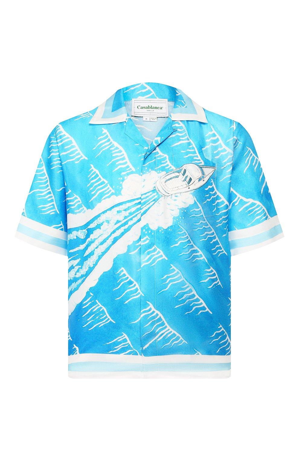 Мужская шелковая рубашка CASABLANCA синего цвета, арт. MS20-SH-003 SH0RT SLEEVE SHIRT SILLAGE | Фото 1