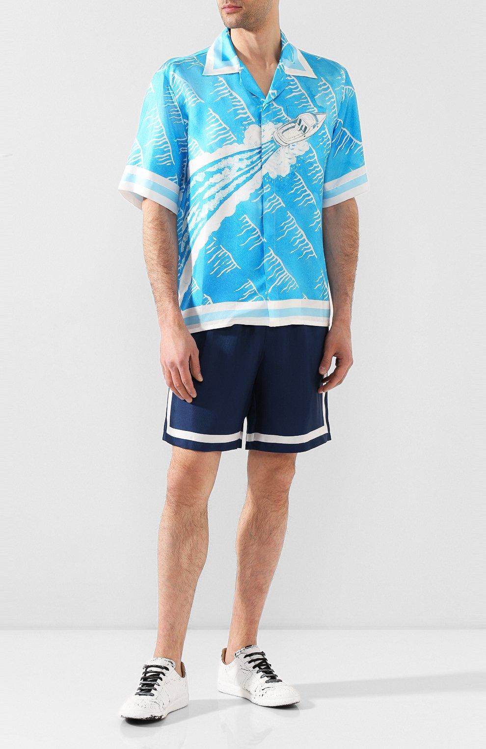 Мужская шелковая рубашка CASABLANCA синего цвета, арт. MS20-SH-003 SH0RT SLEEVE SHIRT SILLAGE | Фото 2