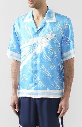 Мужская шелковая рубашка CASABLANCA синего цвета, арт. MS20-SH-003 SH0RT SLEEVE SHIRT SILLAGE | Фото 3