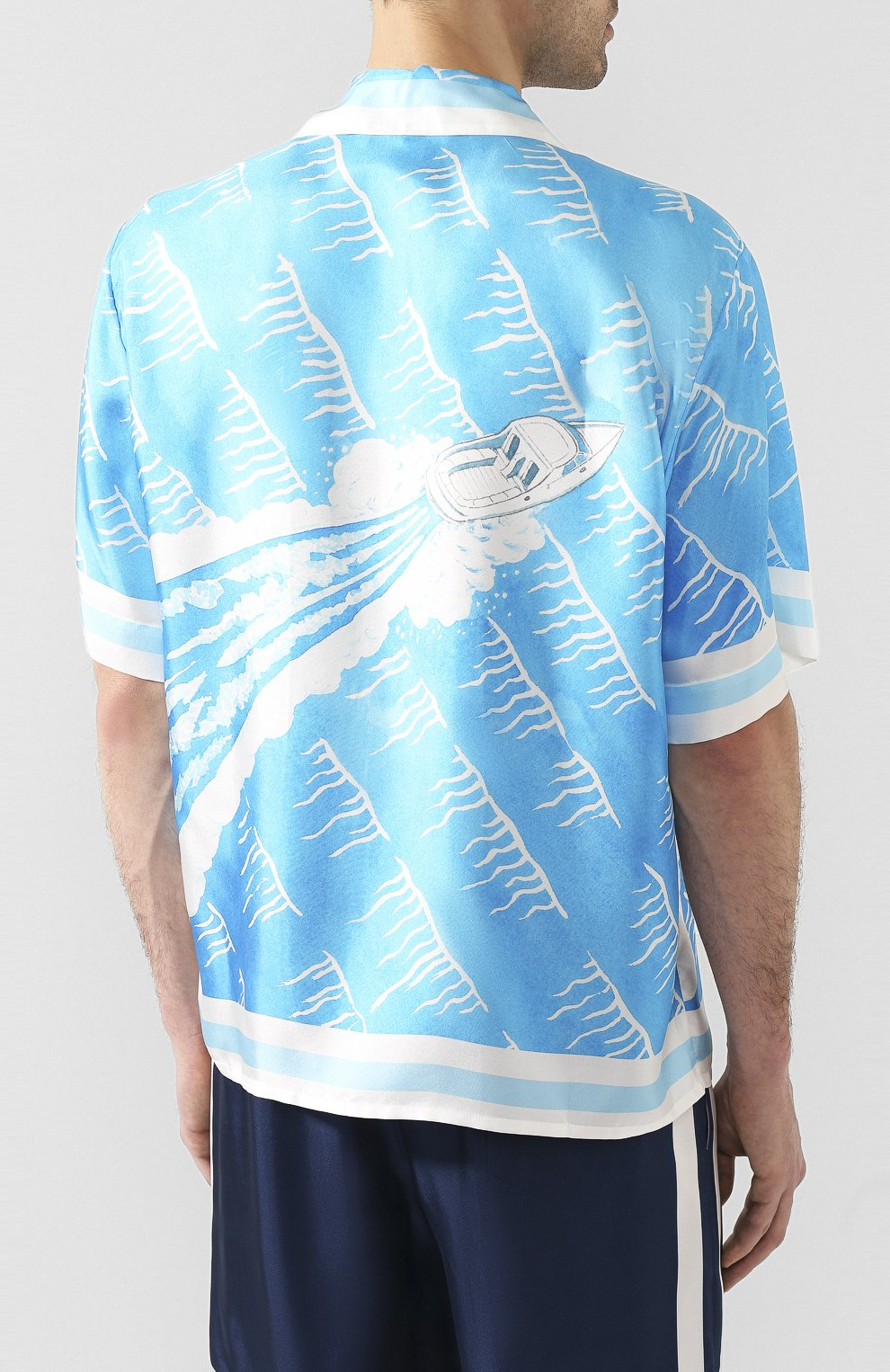 Мужская шелковая рубашка CASABLANCA синего цвета, арт. MS20-SH-003 SH0RT SLEEVE SHIRT SILLAGE | Фото 4