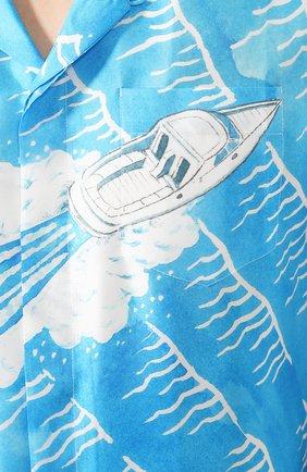 Мужская шелковая рубашка CASABLANCA синего цвета, арт. MS20-SH-003 SH0RT SLEEVE SHIRT SILLAGE | Фото 5