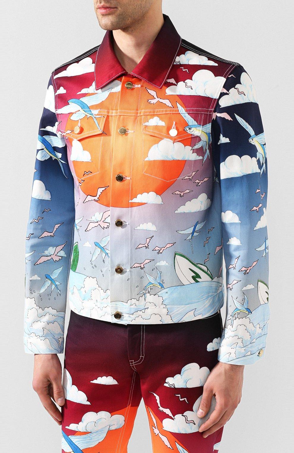 Мужская джинсовая куртка CASABLANCA разноцветного цвета, арт. MS20-JK-003 CASABLANCA SPEED B0AT CLUB JACKET | Фото 3