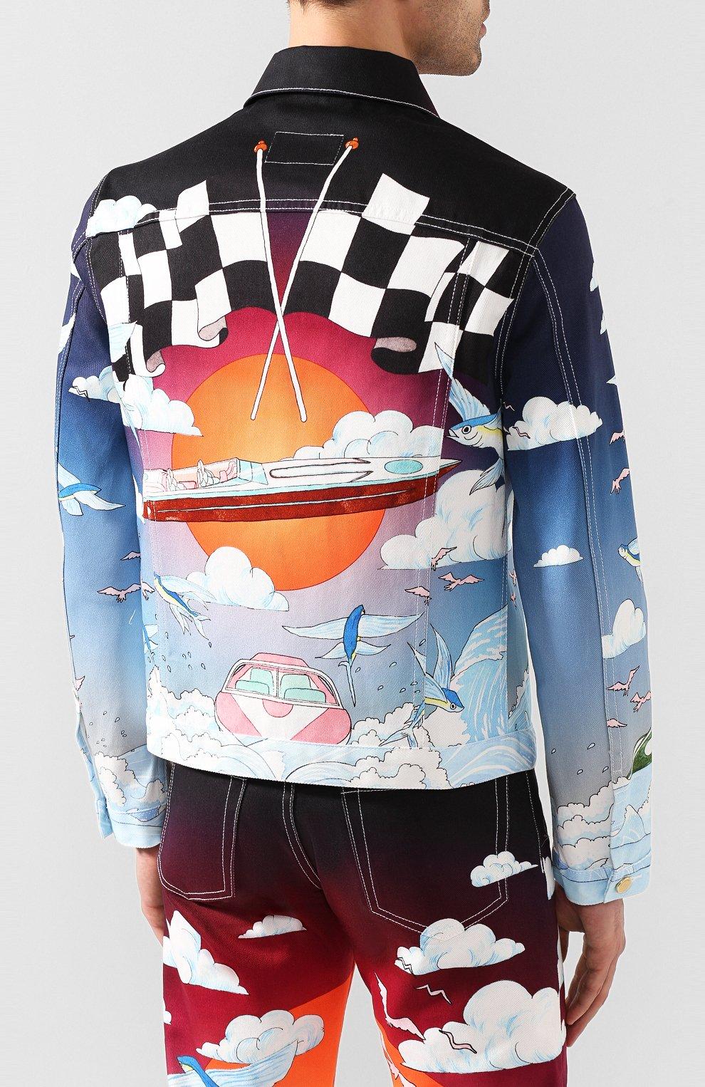 Мужская джинсовая куртка CASABLANCA разноцветного цвета, арт. MS20-JK-003 CASABLANCA SPEED B0AT CLUB JACKET | Фото 4