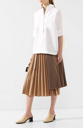 Женская хлопковая рубашка SACAI белого цвета, арт. 20-04821 | Фото 2