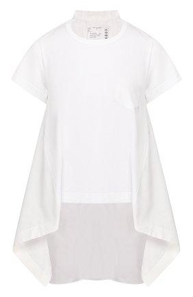 Женская хлопковая футболка SACAI белого цвета, арт. 20-04889 | Фото 1