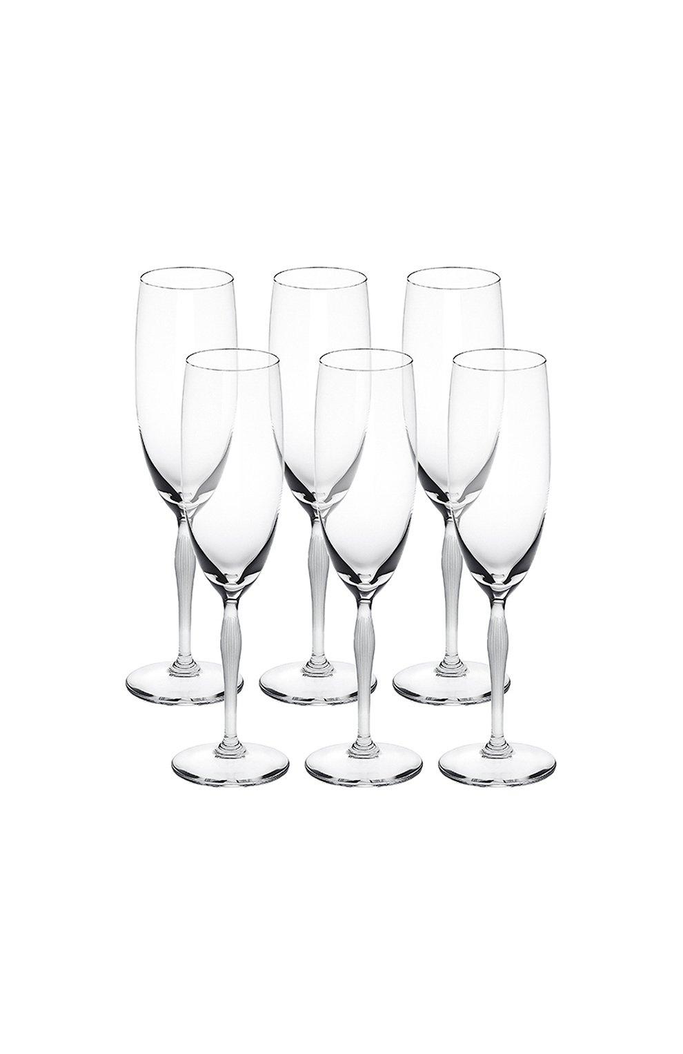 Мужского набор из 6-ти фужеров для шампанского 100 points LALIQUE прозрачного цвета, арт. 10331400 | Фото 1