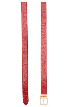 Женский ремень из кожи каймана DOLCE & GABBANA красного цвета, арт. BE1351/A2V84/CYAC | Фото 2 (Материал: Кожа, Экзотическая кожа)